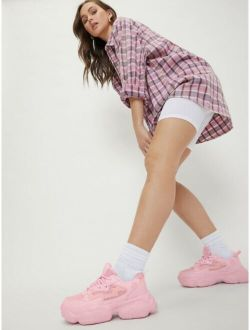 Pink Crisscross Lace-Up Chunky Trainers