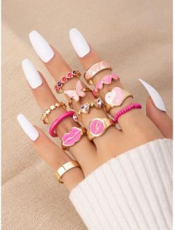 12pcs Butterfly Decor Ring