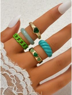 5pcs Heart Design Ring