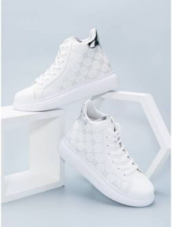 Geometric Pattern Lace-Up Front Skate Shoes