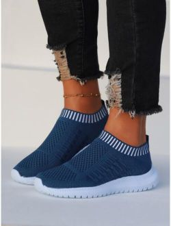 Knit Detail Slip-On Sneakers