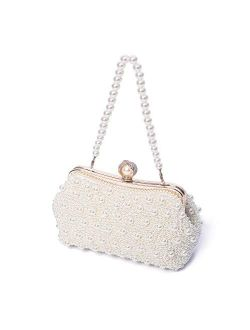 TOIHSUAN Women's Pearl Beaded Cream Evening Cluthes Bags for Wedding-with shoulder strap, 22cm8cm12cm