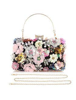 Womens Floral Clutch Purse,Girls Rose Nude Purse,3D Sequins Evening Handbag for Wedding Prom Banquet Party