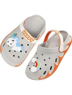 Weweya Kids Garden Clogs Outdoor Beach Water Shoes Cute Sandals with Cartoon Charms for Boys Girls Toddler