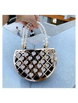 Evening Clutch Bag Portable Women's Purse Luxury Party Dress Handbags Diamonds Pearls Evening Bag Openwork Design (Color : Black, Size : Small)