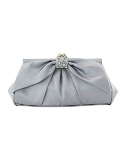 Womens Evening Clutch Diamond-studded bag and bow-knot solid color clutch bag pleated evening bag Wedding party clutch