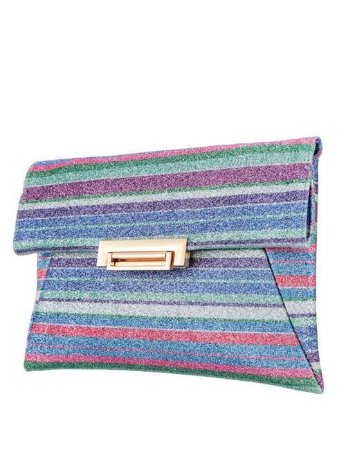 Nina Striped Glitter Envelope Clutch