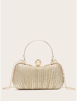 Faux Pearl Decor Ruched Design Chain Bag