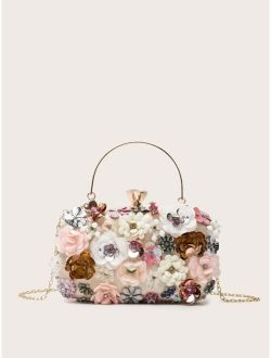 Floral Decor Clip Top Box Bag