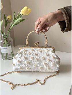 Faux Pearl Decor Chain Clutch Bag