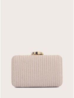 Glitter Decor Clip Top Clutch Bag