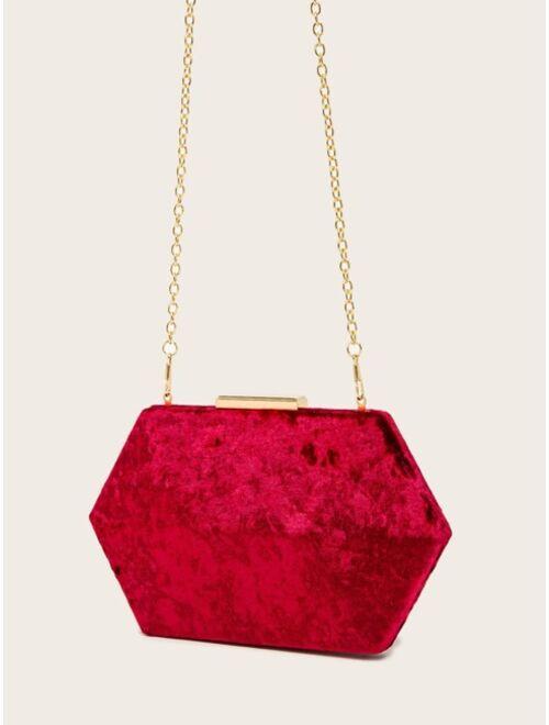Shein Minimalist Velvet Box Bag