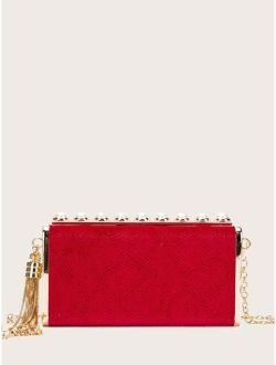 Tassel & Faux Pearl Decor Box Bag
