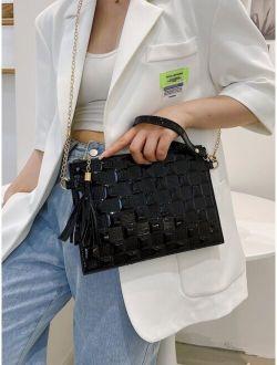 Plaid Tassel Decor Square Bag