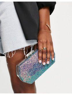 True Decadence hexagon clutch bag in ombre multi glitter with detachable chain strap