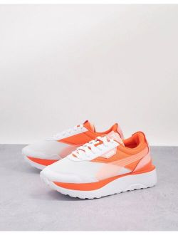 Cruise Rider Sneakers In White And Electric Peach