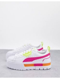 Mayze Platform Sneakers In White And Pink