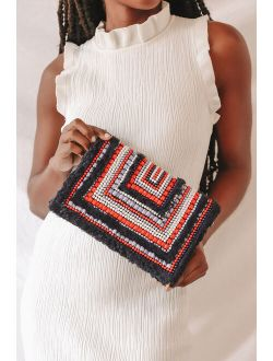 Straight to You Black Multi Beaded Clutch
