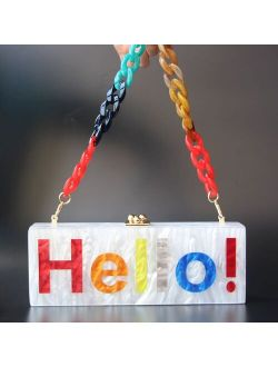 Acrylic Box Clutches Name Letters Colorful Hello Long Female Flap Evening Party Travel Summer Beach Women Shoulder Purses Wallet