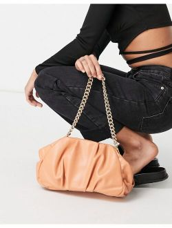 oversized ruched clutch bag in apricot with detachable shoulder chain