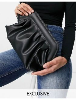 Glamorous Exclusive slouchy pillow clutch bag in black with padded frame