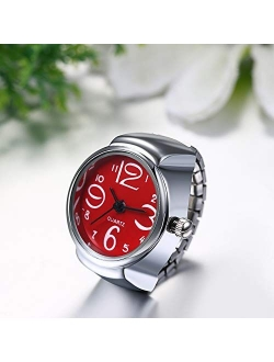 JewelryWe Men Women Finger Watch Creative Elastic Round Quartz Finger Ring Watches