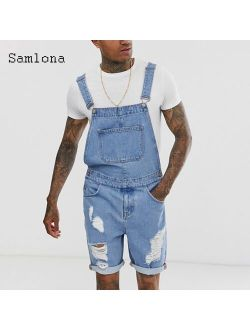 Plus Size 3xl Men's Fashion Hole Ripped Jeans Denim Shorts Suspender Playsuits Jean 2021 Summer Frayed Jeans Sexy Men Overalls
