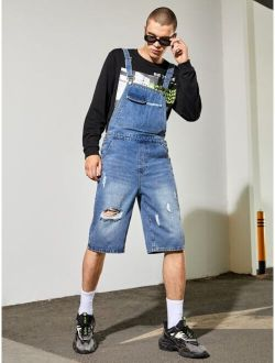 Men Ripped Pocket Front Washed Denim Overall