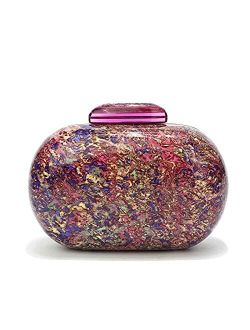 WuYangSto Acrylic Clutch Purses for women wedding, Cute Purple Evening Handbags For Wedding and Party Prom