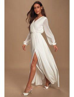 Wondrous Water Lilies White Maxi Dress