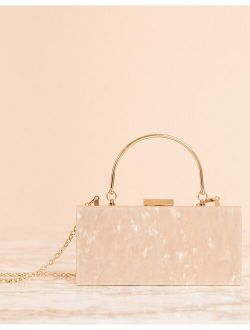 Marble Clutch Bag With Metal Handle