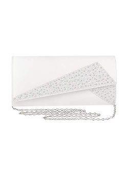 Mulian LilY Women Satin Rhinestones Evening Bags Prom Bridal Clutch Purse Cross Body With Detachable Chain Strap