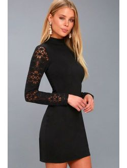 Lace Up Your Sleeve Black Lace Long Sleeve Bodycon Dress