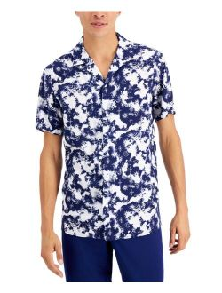 INC International Concepts Men's Regular-Fit Tie-Dyed Celestial-Print Camp Shirt, Created for Macy's