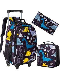 4PCS Rolling Backpack for Girls, Kids Unicorn Wheeled Bookbag