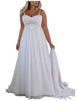 Mulanbridal Women's Spaghetti Straps Plus Size Chiffon Wedding Dress Long Beach Bridal Gowns