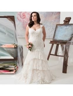Wedding Dresses Mermaid Bridal Dress Lace Long Wedding Bridal Gown Strap Tiered