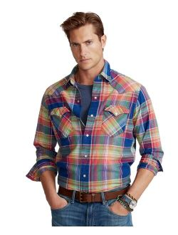 Men's Classic-Fit Madras Western Shirt
