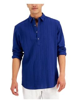 INC International Concepts Men's Textural Jacquard Stripe Popover Shirt, Created for Macy's