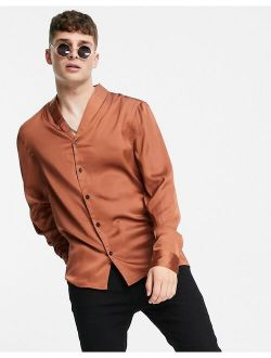 regular satin shirt with shawl neck in copper