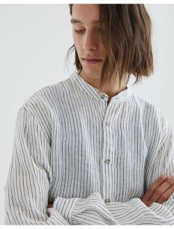 Pull&Bear linen shirt with thin stripes in white