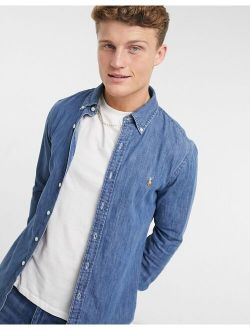 slim fit denim shirt in mid wash blue