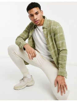 Selected Homme brushed check overshirt in green
