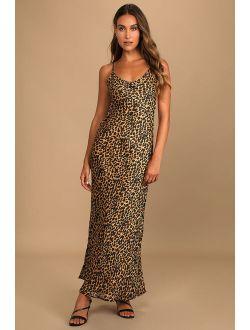 Delightfully Wild Tan Leopard Print Tie-Back Column Maxi Dress