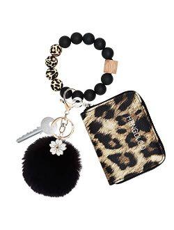 Leopard Wallet Keychain Bracelet for Women, Bangle Keychain Wallet, Silicone Beaded Keychain Wristlet Wallet for Women, Bracelet Wrist Key Chain Wristlet Bangle Wallet Ke