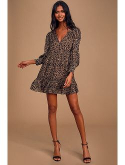 Rock It Out Brown and Black Leopard Print Babydoll Dress