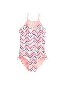 Girls 4-16 SO® Shiny Chevron Skinny Straps One-Piece Swimsuit