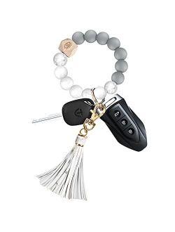 Women Wristlet Keyring keychains Accessories Bracelet Silicone Beaded Key Chain