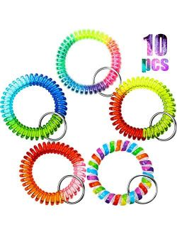 10 Pieces Colorful Spring Wrist Coil Keychain Rainbow Spiral Coil Wristband Stretch Key Chain Key Ring for Gym, Pool, ID Badge