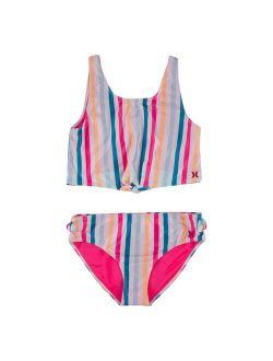 4-6x Hurley Striped Tankini & Bottoms Swimsuit Set